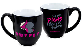 Engraved and hand-painted 14oz shiny black latte coffee mug with stylized text stating: Let Your Paws Take You There