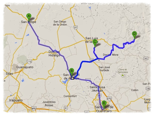 Day 56-81 Route: A) San Felipe, B) San Miguel de Allende, C) Mineral de Pozos, D) Xichú, E) Santiago de Querétaro