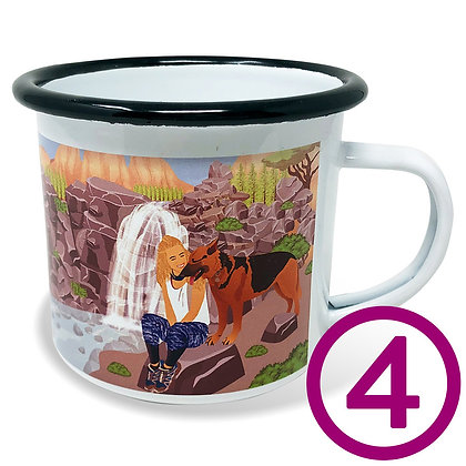 Four My Pup Goes Camping Mugs personalized with original artwork from your favorite photo of your dog