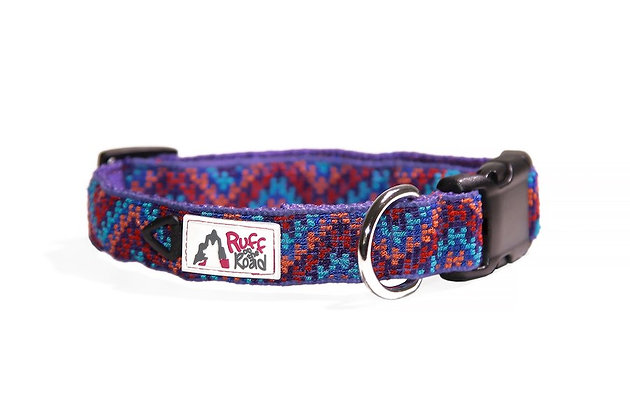 Tightly handwoven dog collar in rising chevron pattern and rich purple and other colors