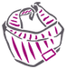 Stylized icon of handmade dog bandana in pink and grey