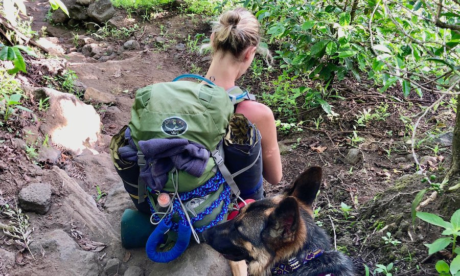 Hiker with German Shepherd and handmade paracord dog leash