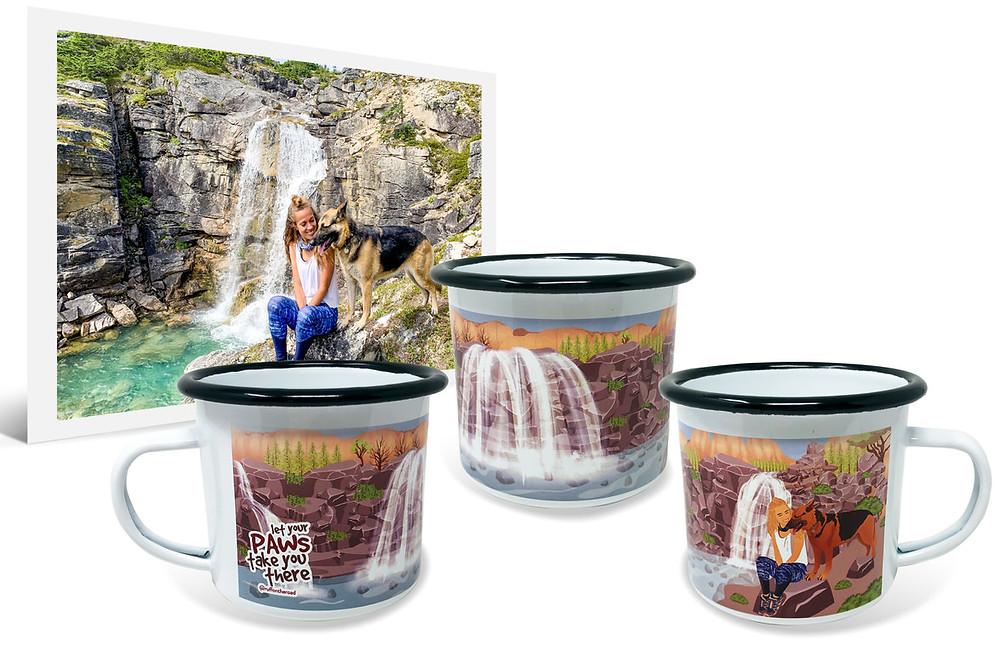 photo of girl with german shepherd by a water fall beside 3 enamel printed mugs