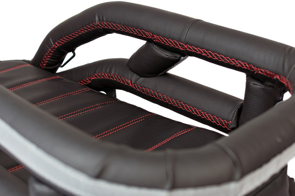 K9 Moto Cockpit motorcycle dog carrier in Black Dimples vinyl with red stitching – over top