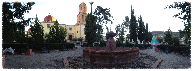Panorama of the plaza in Sombrerete