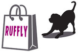 RUFFLY shopping bag and excited dog ready to play