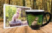 Small, white dog on tree stump photo beside personalized, engraved, hand-painted latte mug