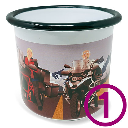 One custom Overlander Camping Mug personalized with original artwork from your favorite travel photo on a 12oz enamel cup