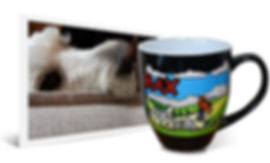 : Personalized artwork from dog photo engraved and hand-painted on 14oz black latte coffee mug