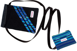 Mini crossbody bag with handwoven black and blue beside matching zippered coin pouch