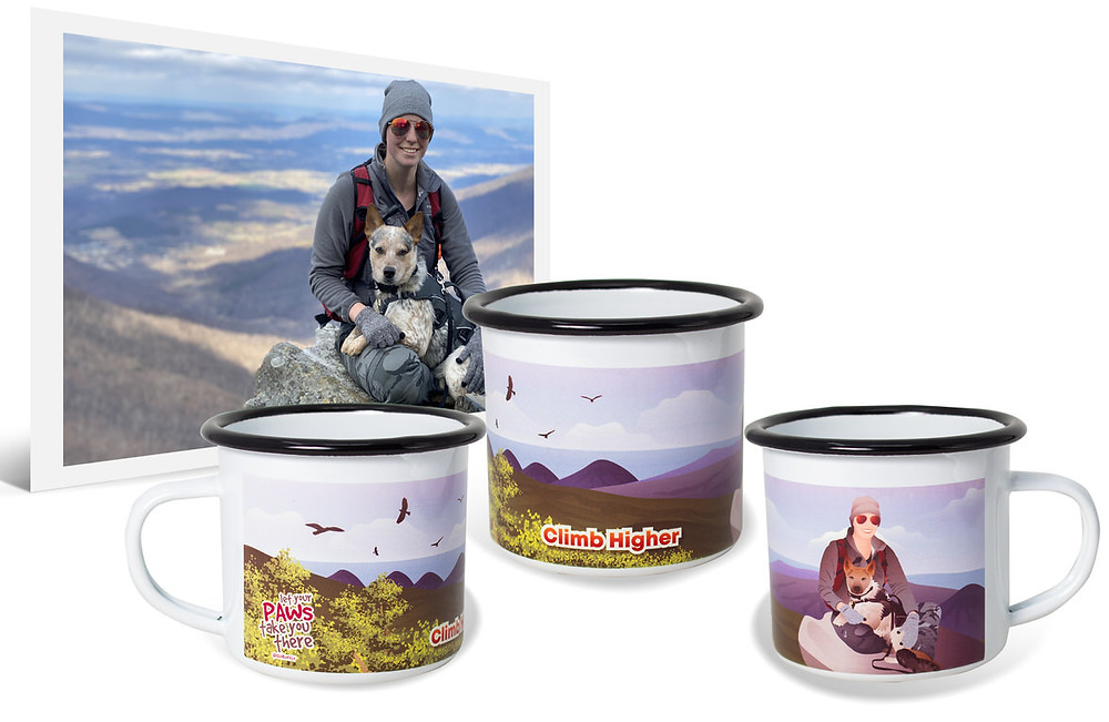 photo of girl and her dog on a mountain beside 3 enamel photo mugs