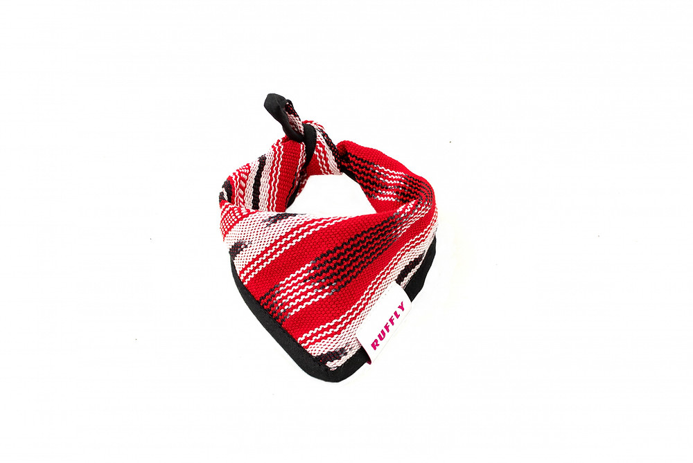 red, white and black tied bandana