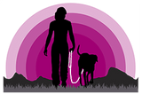 Silhouette of woman walking with dog into pink sunset