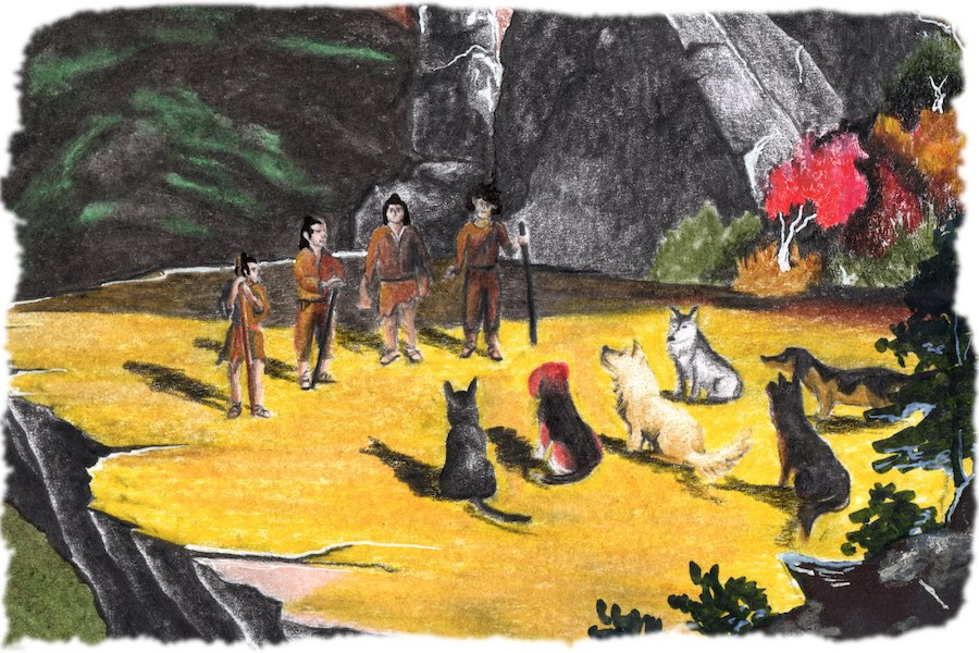 primitive dogs and men meet to hold a council