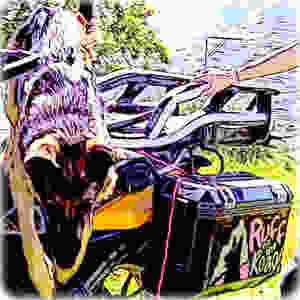 Cartoon of German Shepherd dog leaping down from adventure motorcycle dog carrier
