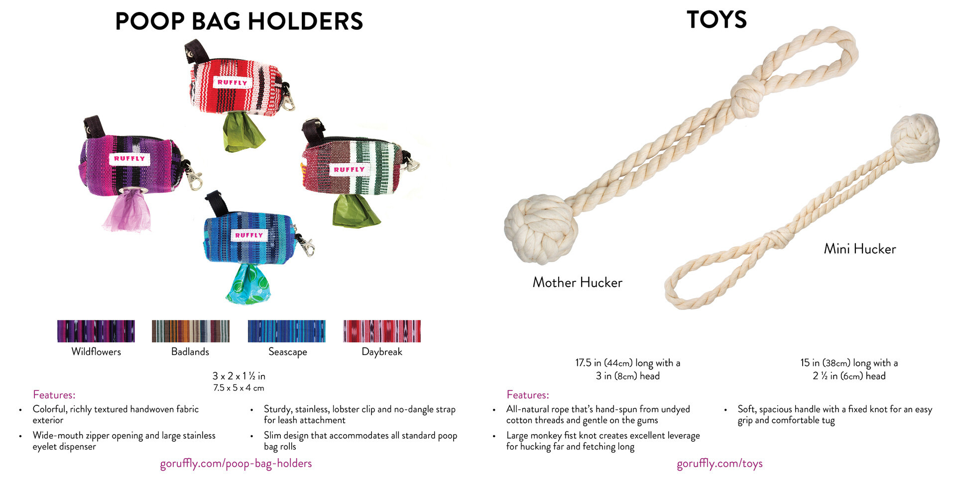 RUFFLY Lookbook – Pages 14 and 15 – Woven Poop Bag Holders and Rope Toys