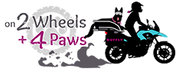 Logo of German Shepherd dog on adventure motorcycle with woman rider