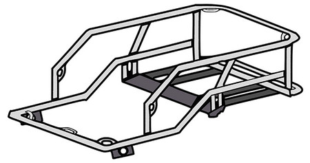 Schematic drawing of motorcycle dog carrier for large dogs