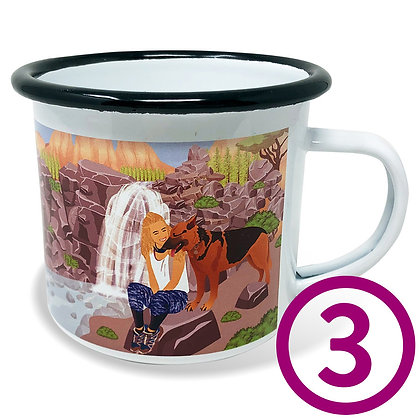 Three My Pup Goes Camping Mugs personalized with original artwork from your favorite photo of your dog