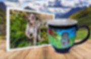 White and brown dog on photo beside engraved mug of same image
