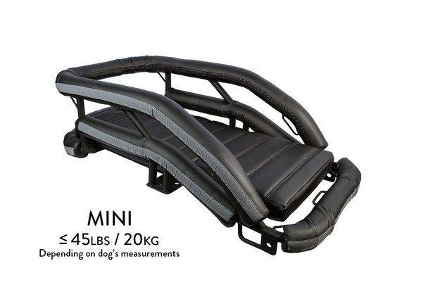 K9 Moto Cockpit motorcycle dog carrier in mini size for dogs less than 45 lbs, depending on the dog's measurements