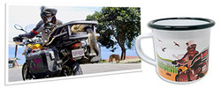 Overlander Camping Mug is an enamel coffee cup with personalized artwork from your travel adventure