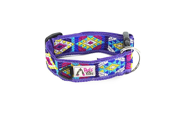 Artisan-made, handwoven dog collar with diamond and triangle patterns