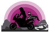 Silhouette of motorcyclist riding with dog on carrier across mountains with pink sunset