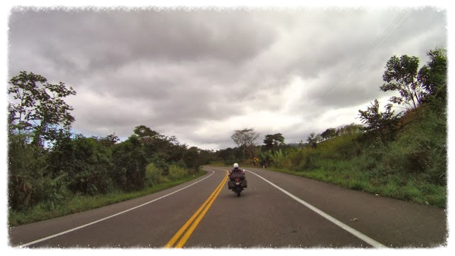 Jess rides under gray skies in Mexico