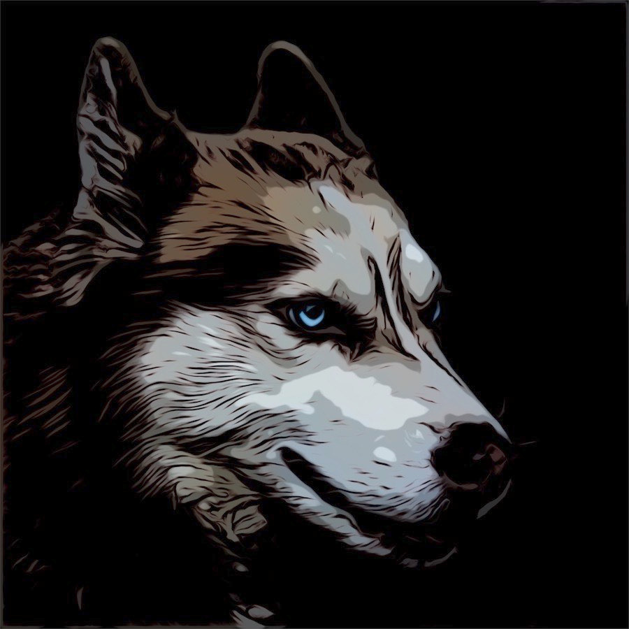 Comic cartoon picture of a Siberian Husky dog with blue eyes