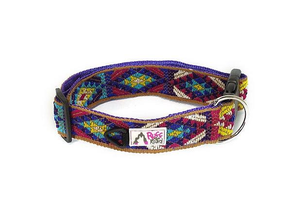 Handmade dog collar woven by guatemalan artisans on purple webbing