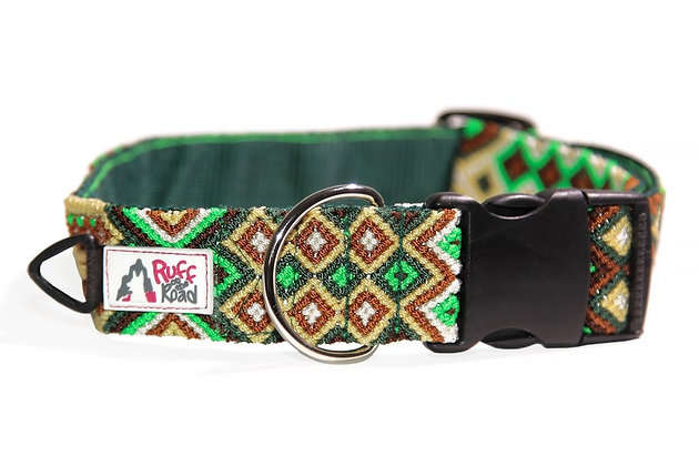 Handmade macrame collar for large dog in strikingly rich jungle colors