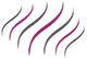 Stylized icon of series of wavy lines in pink and grey