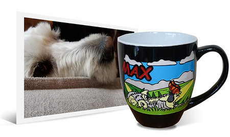 Personalized artwork from dog photo engraved and hand-painted on 14oz black latte coffee mug