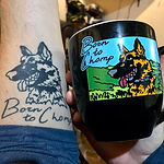 German Shepherd dog tattooed on forearm and engraved and painted on coffee mug