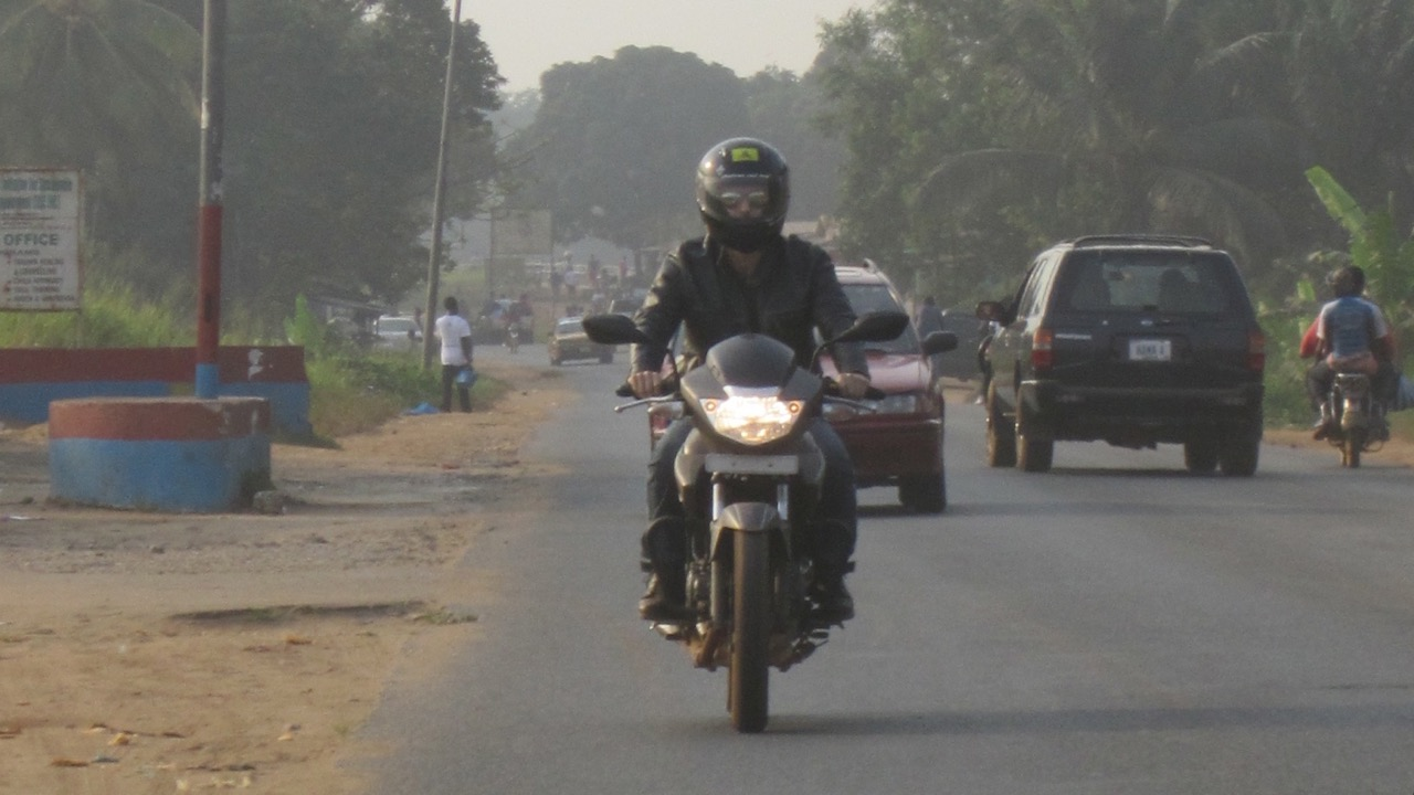 Greg rides to Robertsport, Liberia