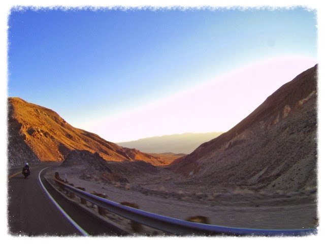 Jess rides Highway 190 in Death Valley