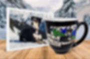 Black, white, and tan dog in snowy mountains photo beside personalized, engraved, hand-painted coffee mug