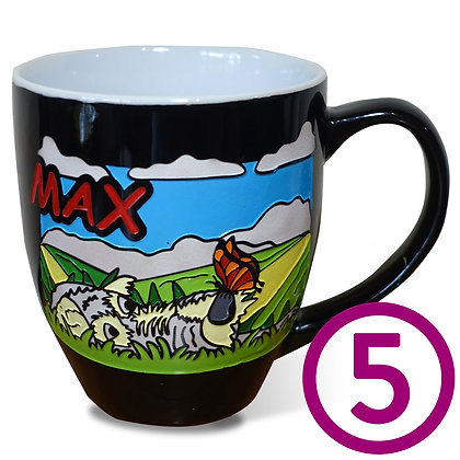 Five My Pup Mugs personalized with original artwork from your favorite photo of your dog engraved and hand-painted