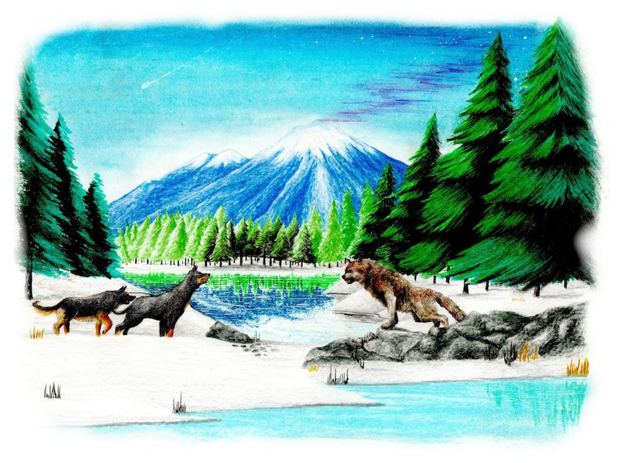 Drawing of dogs and an ancient Great Wolf in a scene of rivers, trees, and mountains