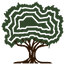 Stylized icon of tree in dark brown and forest green