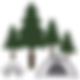 Icon of park bench, camping tent, and pine trees