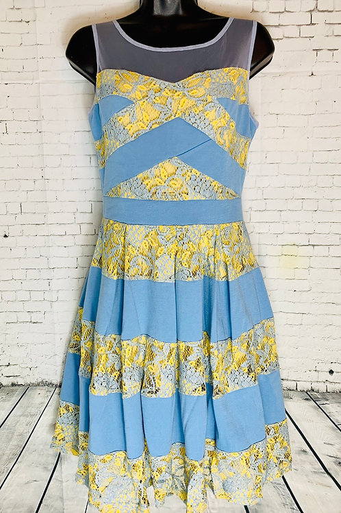 Blue & Yellow Lace Color Block Dress