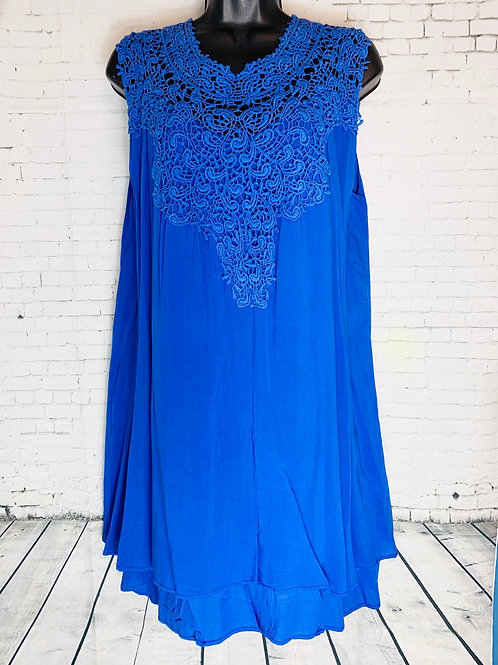 Royal Blue Dress with Lace Neckline