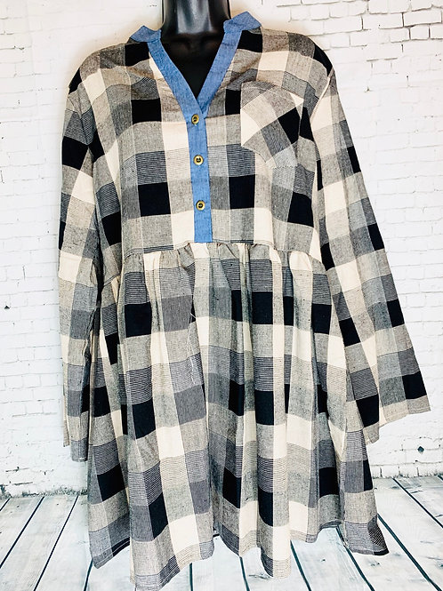 Cream & Black Plaid with Denim Button Up Tunic
