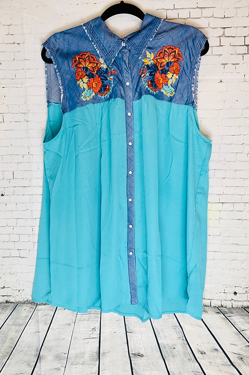 Aqua Denim Top with Embroidered Detail