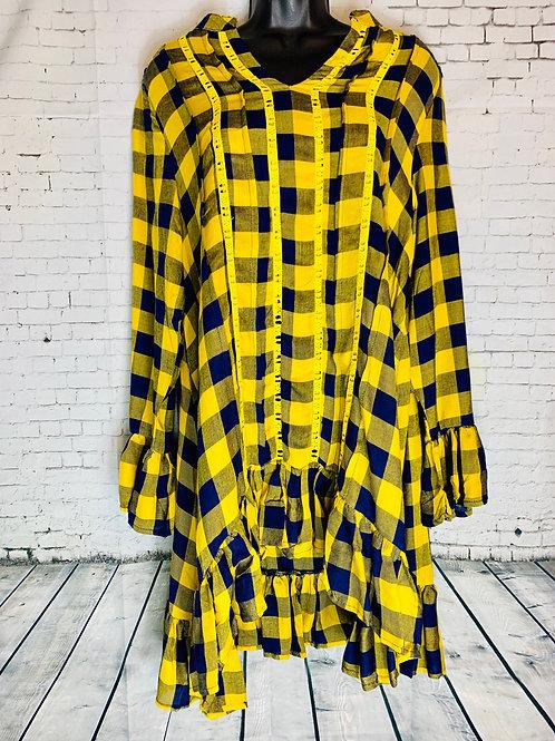Mustard & Navy Plaid Tunic