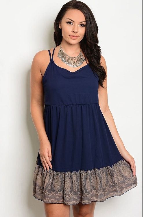 Navy Dress with Brown Lace Detail