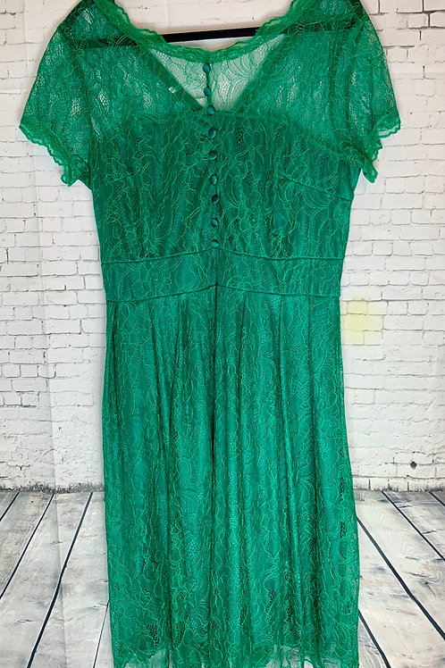 Emerald Green Lace Vintage Inspired Dress