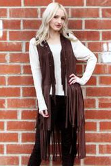 Dark Brown Fringe Vest